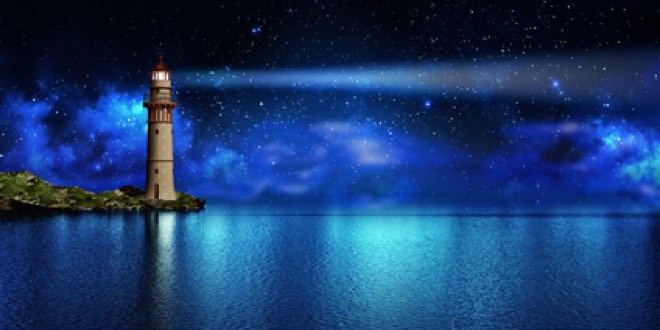 Safety and hope concept, a lighthouse on a tropical island on the ocean with a beam of light in the night sky with stars